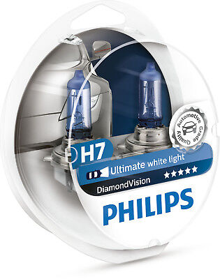 Philips Diamond Vision 5000K H7 Car Headlight Bulbs Twin Pack 12972DVS2