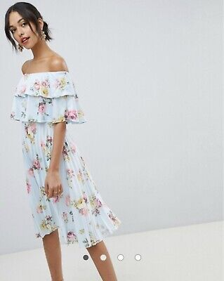 NWT Asos Design Double Ruffle Bardot Pleated Midi Dress Flower Floral -