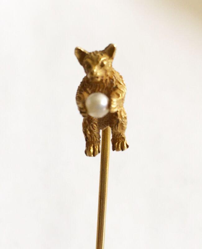 Antique Art Nouveau 14k Full Figure Bear Stick Pin & Pearl