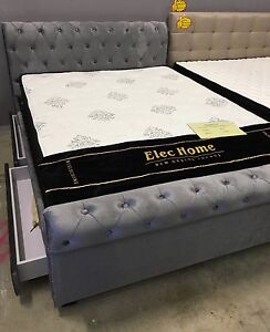 Brand new - Grey Velvet fabric bed frame with storage drawers! Frankston Frankston Area Preview