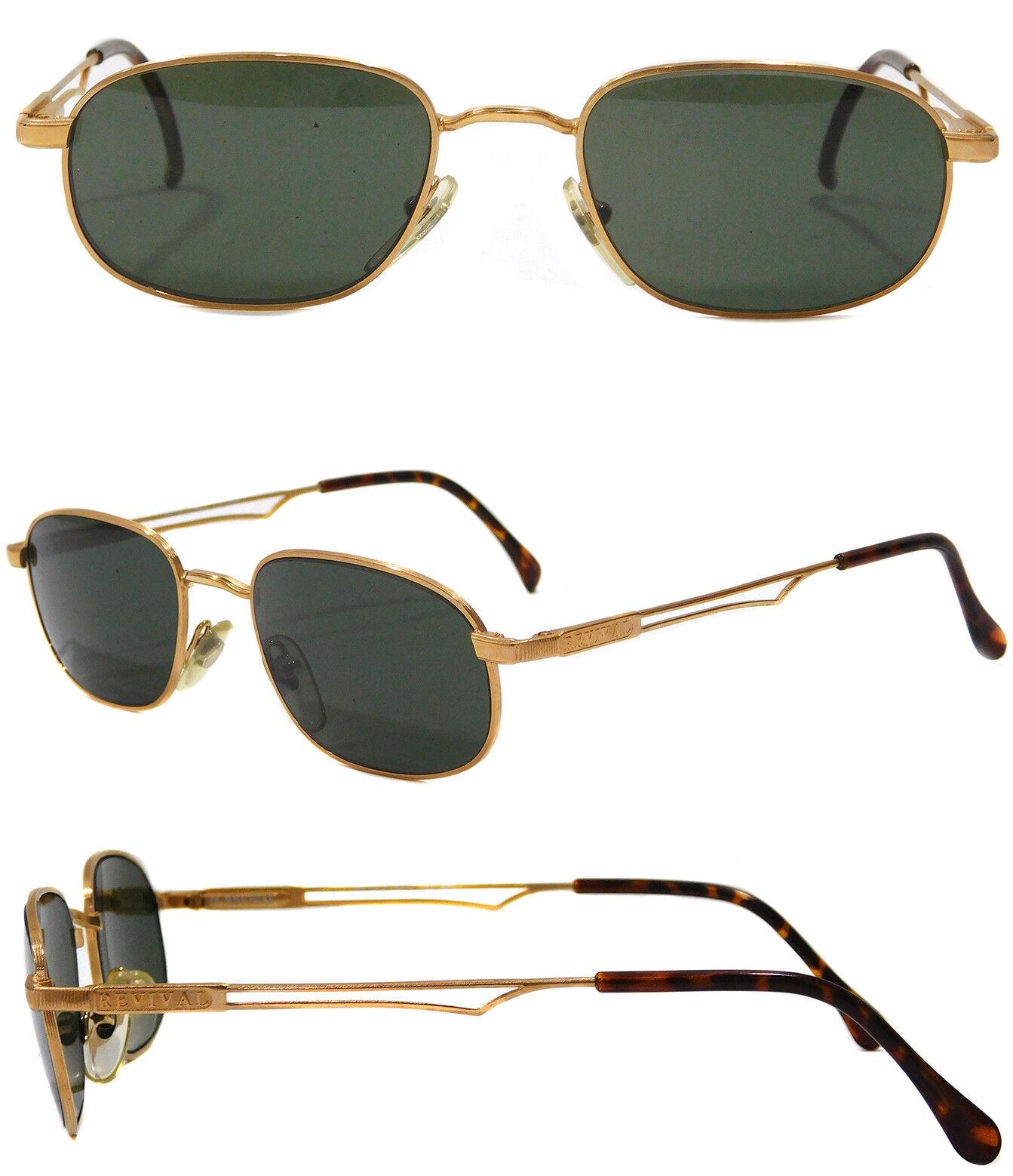 OCCHIALI SOLE sunglas firmati REVIVAL lente verde montatura metallo dorato UOMO