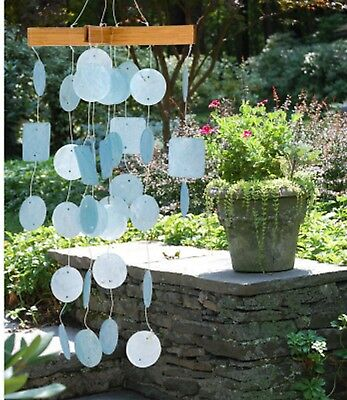 Woodstock Chimes  Capiz   Min Chime  Light Blue -Coconut Wood & Sea Shell 138   ](Seashell Wind Chime)