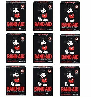 9 Boxes Mickey Mouse Band-Aids 180 Adhesive Bandages Assorted Collectors Series Adhesive Bandage Assortment