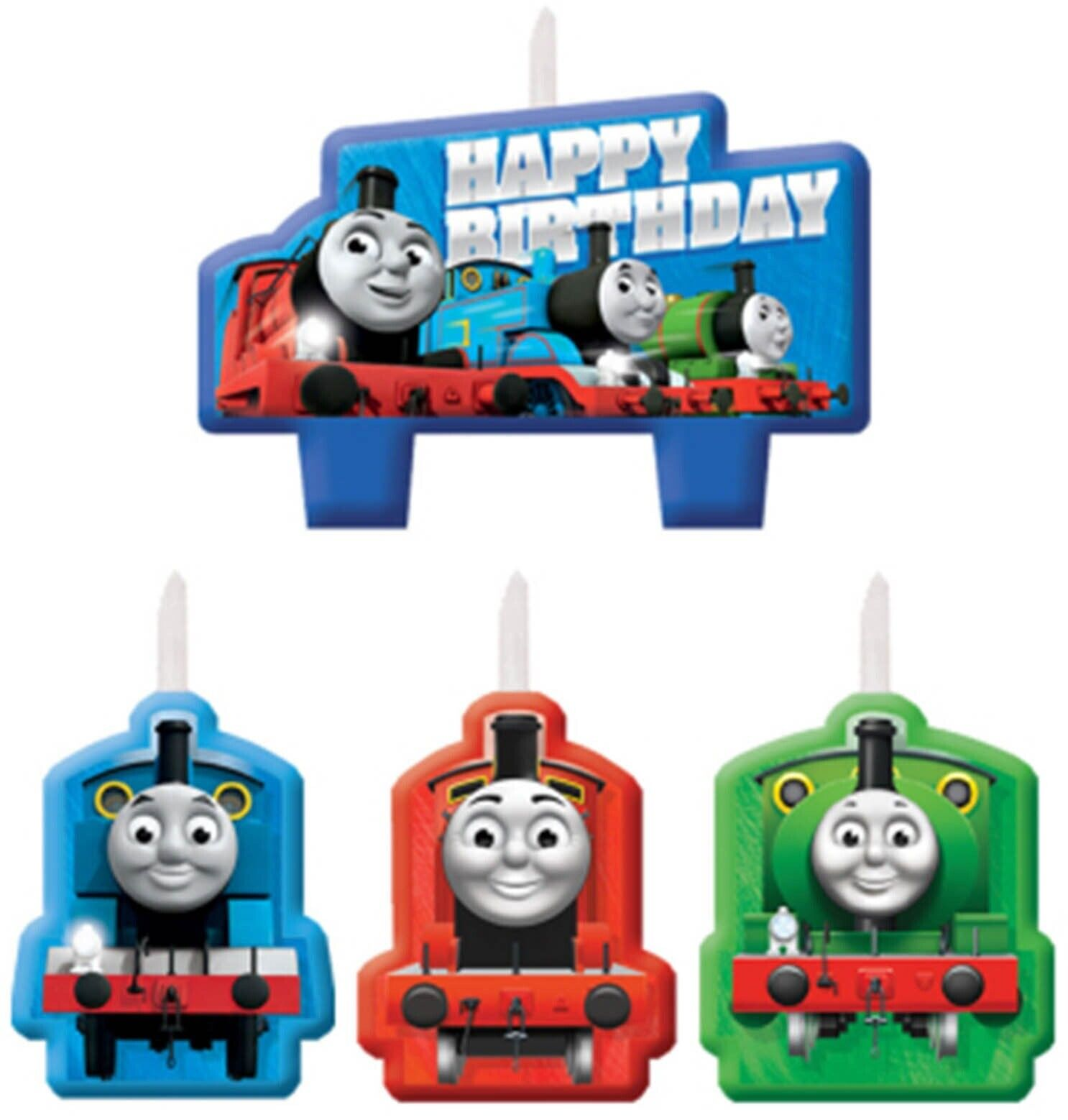 Pleasing Thomas The Tank Friends Train Birthday Cake Candle Set 4Pcs Funny Birthday Cards Online Fluifree Goldxyz