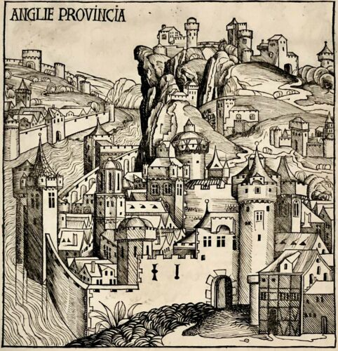 "FIRST PUBLISHED VIEW OF LONDON 1493 Nuremberg Chronicle Leaf ""Anglie Provincia"""