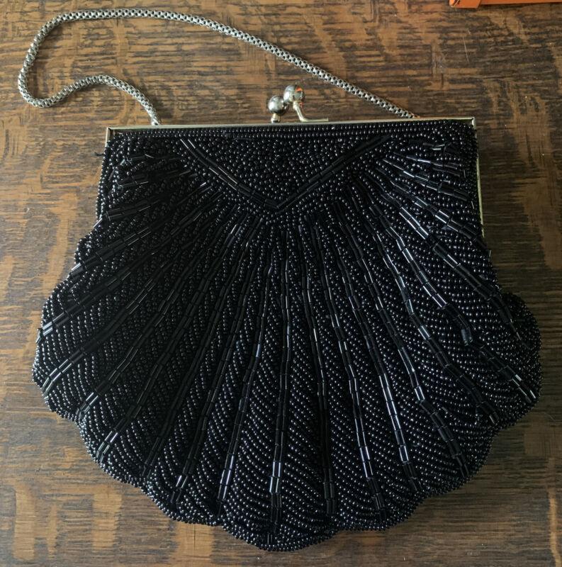 Vintage Walbaeg Black Beaded Evening Bag Handbag Purse Clutch Chain Gold 7x6