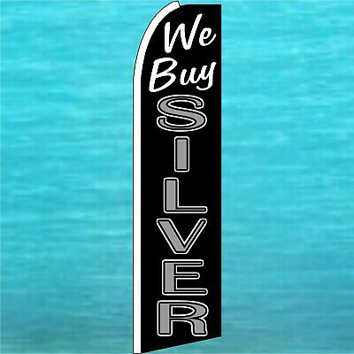 We Buy Silver Swooper Flag Tall Wind Flutter Feather Advertising Banner Sign