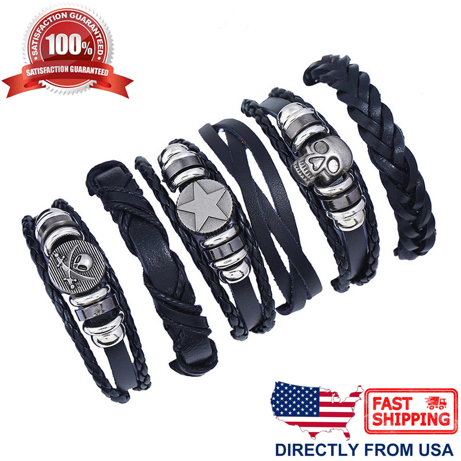 Men's Punk Rock Skull Braided Black Leather Cuff Wristband Bracelet 6pcs Set Bracelets