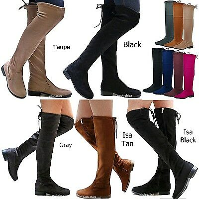 Low Heel Thigh High Boot - New Women FJL Stretchy Over the Knee Thigh High Drawstring Low Heel Boot 5.5-10