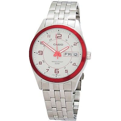 Casio MTP1354D-8B2 Mens Stainless Steel Dress Watch 50M NEW White Red Dial