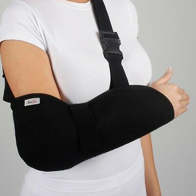 Deluxe Arm Sling Shoulder Immobilizer Bracing High Pouch Support Strap Black ()