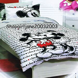 Mickey Loves Minnie Mouse ❤ Disney ❤ Single/Twin Bed Quilt Doona Duvet Cover Set
