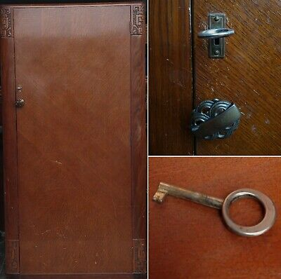 Vintage Small Brown Wood Wardrobe Key  Lock 5 Ft  1940s Art Nouveau LE2 or CV3