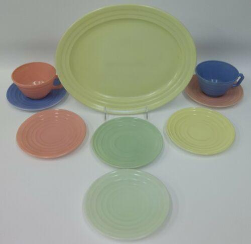 Vintage Hazel Atlas Pastel Moderntone Platonite Dish Lot Platter Saucers Cups