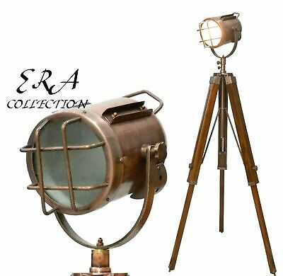 Copper Antique Designer Nautical Spot Light W/Tripod Decor Floor Lamp Best Item