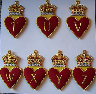 Royal Family Name Letter Love King Monogram Heart Crown T U V W X Y Z Patch Coat