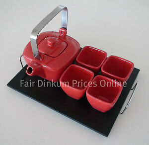 Japanese Tea Set Red 6 Piece NEW - Pot, 4 Cups and Wood Tray