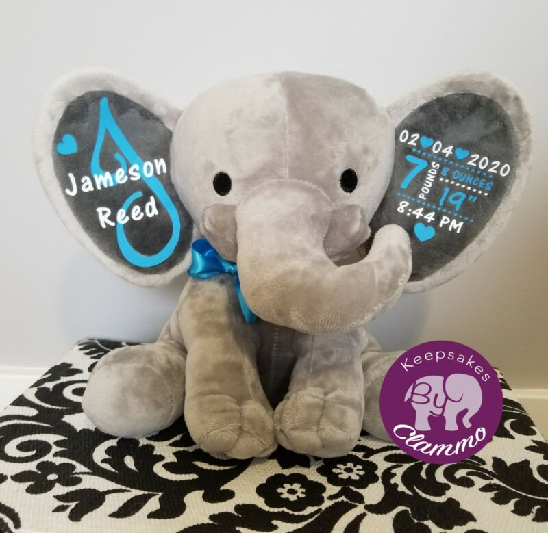 Personalized elephant baby boy girl birth stats announcement baby shower gift