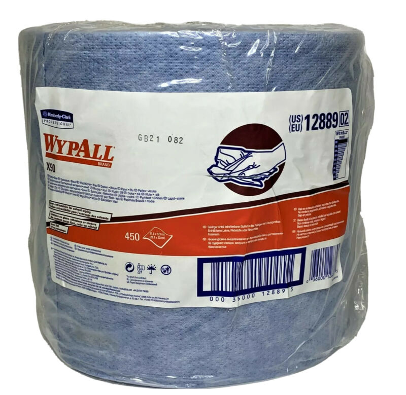 "Kimberly Clark Wypall X90 Cloths Jumbo Roll, 11.8"" x 12.6"", Blue, 450/Roll 12889"