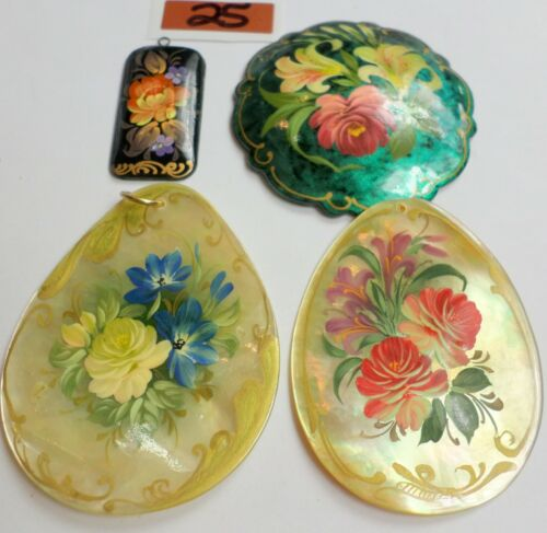 4 Vintage Russian Hand Painted Lacquer Wooden & MOP Floral Pendants Signed 25