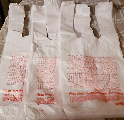 New 3pk-80ct Small Plastic T-Shirt Thank You Carry Out Bags-7