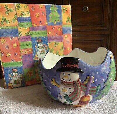Christmas Center Piece Bowl by Sango Sweet Shoppe by Sue Zipkin Snowman Tree