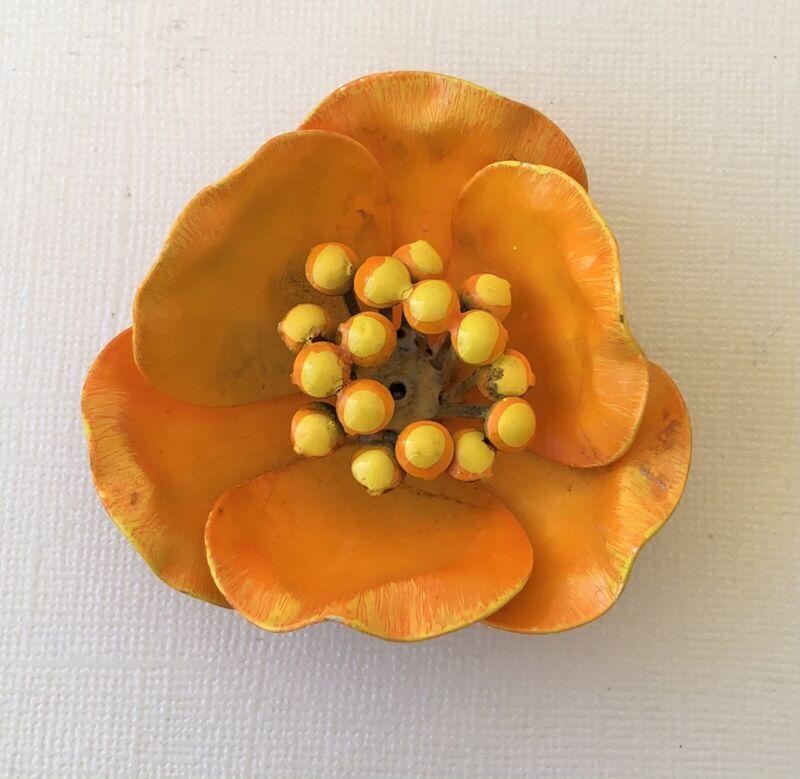 Lovely Vintage large Orange flower  Brooch Pin