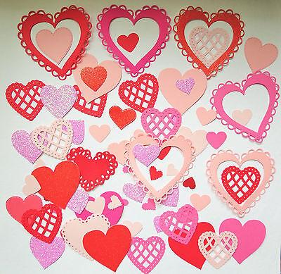 Valentines Hearts Paper Punch Die Cut Set of 50 Scrapbook Embellishment