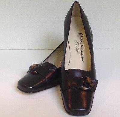 "Salvatore Ferragamo 2"" heel pump black leather w/faux turtoise buckle 6B NEW"