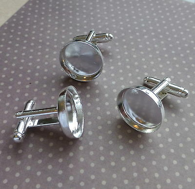 10 x Silver cufflink, cufflinks, blanks, settings, base, setting SLIGHT SECOND