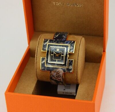 NEW AUTHENTIC TORY BURCH T BANGLE BLACK GOLD FLORAL WOMEN'S TBW5002 WATCH