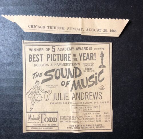 """1966 Rodgers & Hammerstein's """"The Sound of Music"""" Julie Andrews print ad 3.5x3.5"""