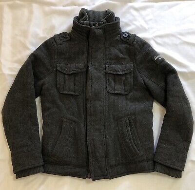 Abercrombie And Fitch Jacket Mens Size Small Gray Wool Viscose Headphone Pocket