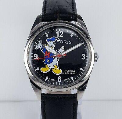 ORIS 17Jewels Shock Proof Donald Duck Black Dial Handwinding Vintage Watch Watch