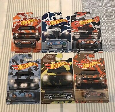HOT WHEELS - CAMOUFLAGE - COMPLETE SET OF 6 CARS