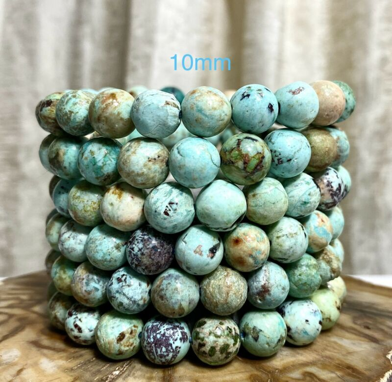 "Wholesale 6 Pcs Natural Turquoise 10mm 7.5"" Stretch Bracelet Crystal Healing"
