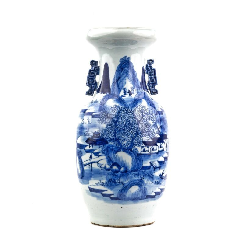An Antique Chinese Blue & White Porcelain Landscape Vase