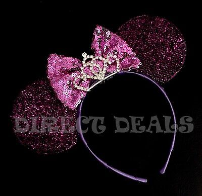 Minnie Mouse Princess NEW Shiny Purple Lavender Bow Ears Rhinestone Tiara Party