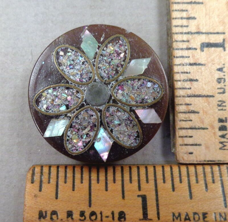NATURAL HORN Antique BUTTON #10, Intricate Brass, Pearl & Silver Inlay, 1800s