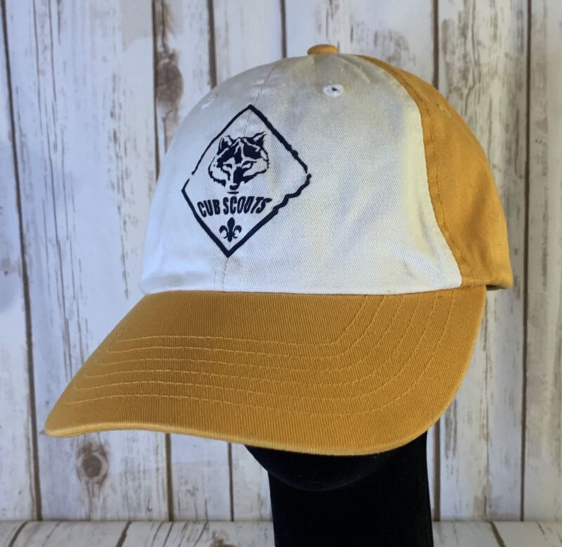 Vintage Cub Scout Hat Classic Yellow/White Rare Adjustable Buckle Strap