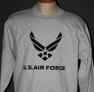 U S AIR FORCE CREWNECK SWEATSHIRT WING - GREY HEATHER - XS-XL - BRAND NEW Air Force Crewneck Sweatshirt
