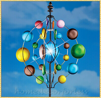 Colorful Metal SOLAR Garden Wind Spinner Stake Outdoor Yard Lawn Home Art Decor
