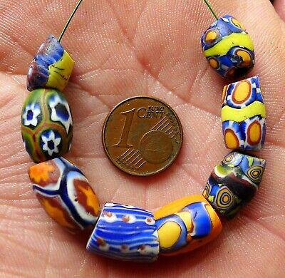 Pearl Millefiori Antique Murano Africa Tensor Clear Venetian Glass Trade Bead Fb