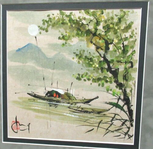 JUNG JAPANESE WATERCOLOR SEASCAPE BOATS PAINTING SIGNED