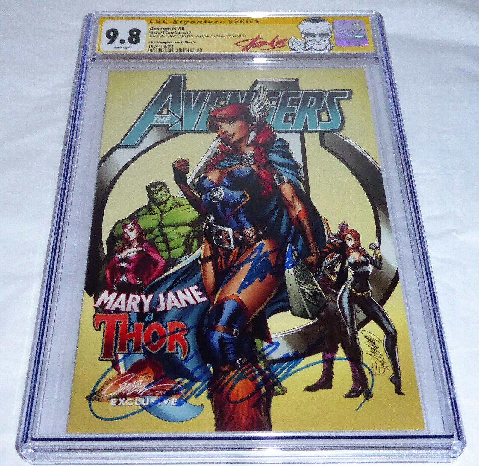 Avengers #8 CGC SS Signature Autograph STAN LEE JScottCampbell Edition B Variant