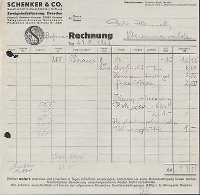 DRESDEN, 2x Rechnung 1937, Schenker & Co. G.m.b.H.