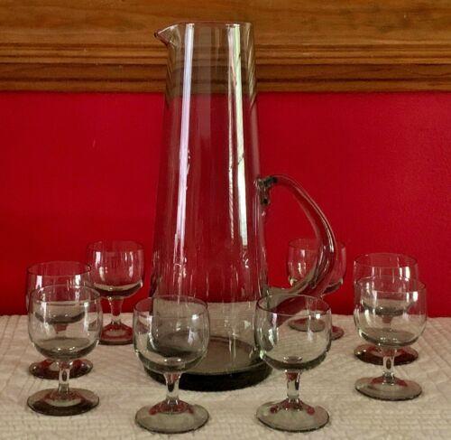 VTG MID CENTURY DANISH MODERN HOLMEGAARD SMOKE GLASS COCKTAIL PITCHER & CORDIALS