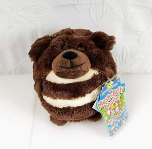 NWT Mushabelly Chatter Plush Pillow Dog Diche Brown Push Belly for Sound