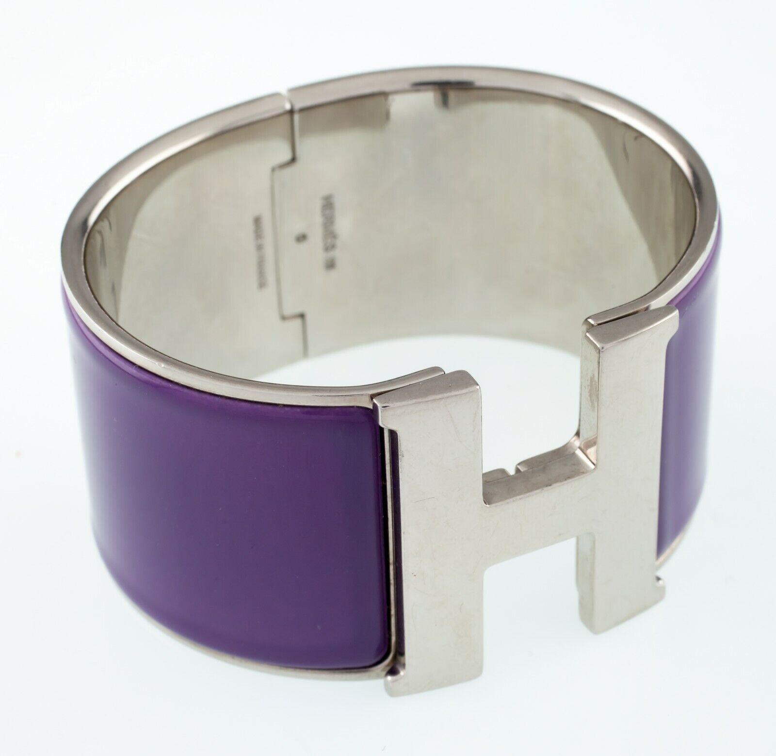 Hermes clic clac violet extra large bracelet joli
