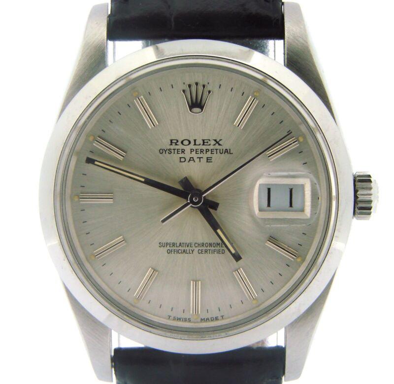 Men Rolex Date Stainless Steel Watch Quickset Black Band Silver Stick Dial 15000